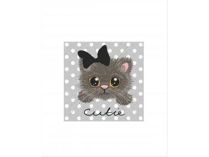 šedé kotě s mašlí40x50