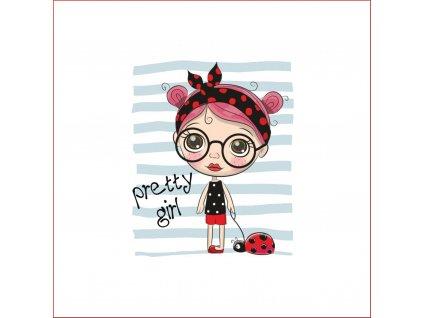 Panel Dívka s brýlemi 50x50cm úplet