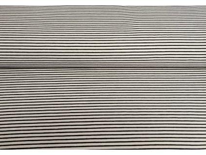 Bavlněný úplet s elastanem Černo-bílé proužky