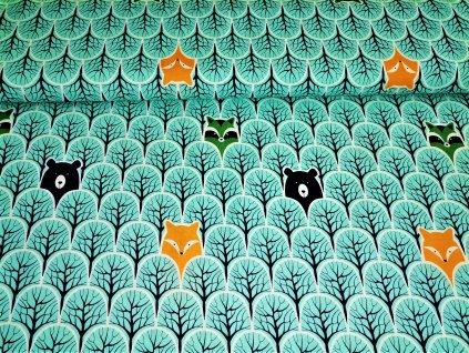 Liška, medvěd a mýval v modrém lese