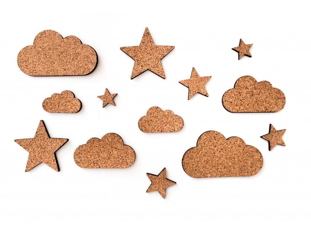 samolepky hvězdičky a obláčky