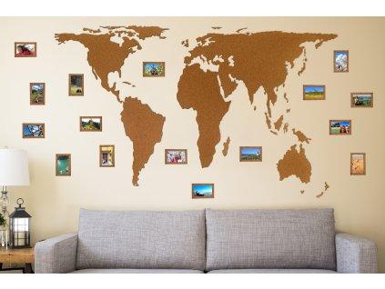 Mapa světa z korku 2m s fotorámečky