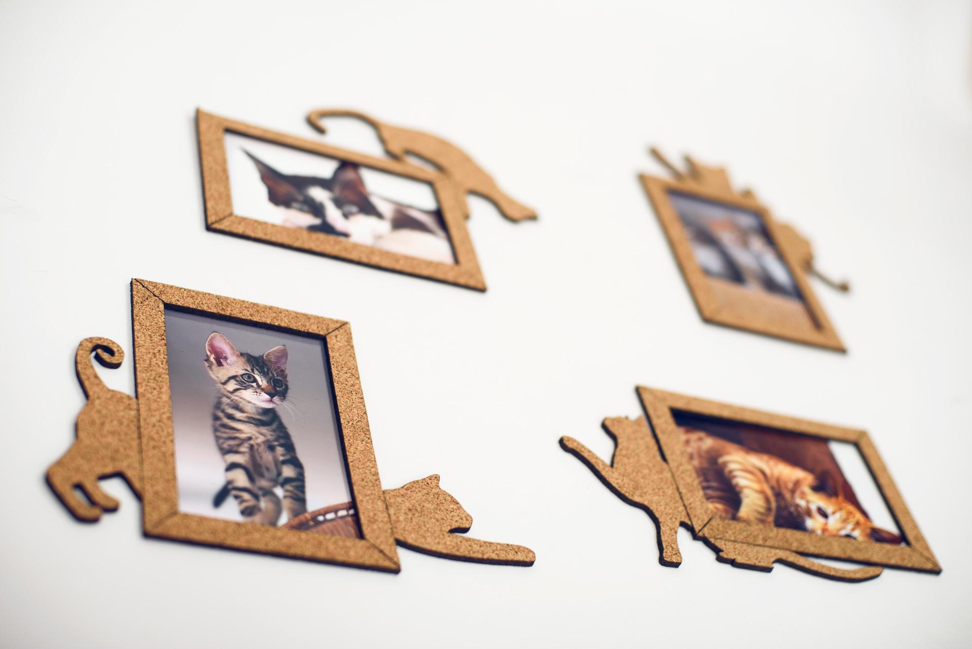Korkové fotorámečky kočičky