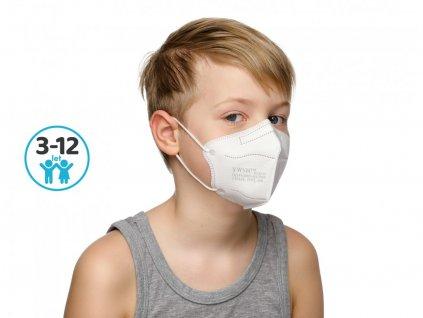 Dětský respirátor FFP2 s CE bílý