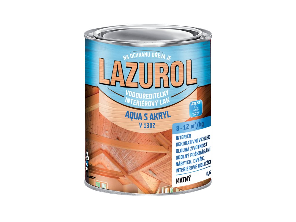 Lazurol AQUA S Akryl V1302 lak transparentný lesklý 0,6kg