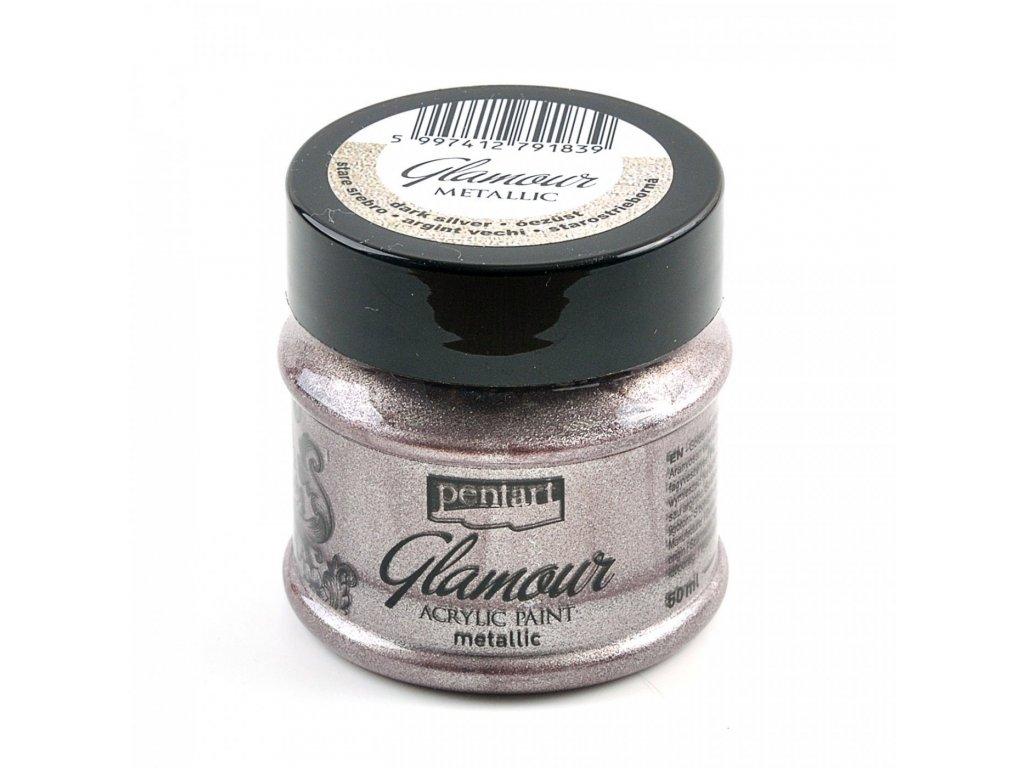 Akrylová farba, glamour, 50 ml, antická strieborná 29396