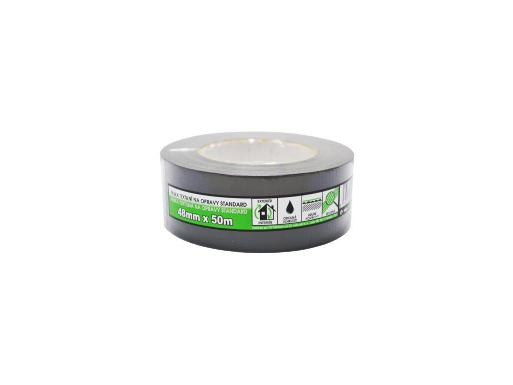 Páska textilná na opravy BASIC čierná 48mm/10m 830307