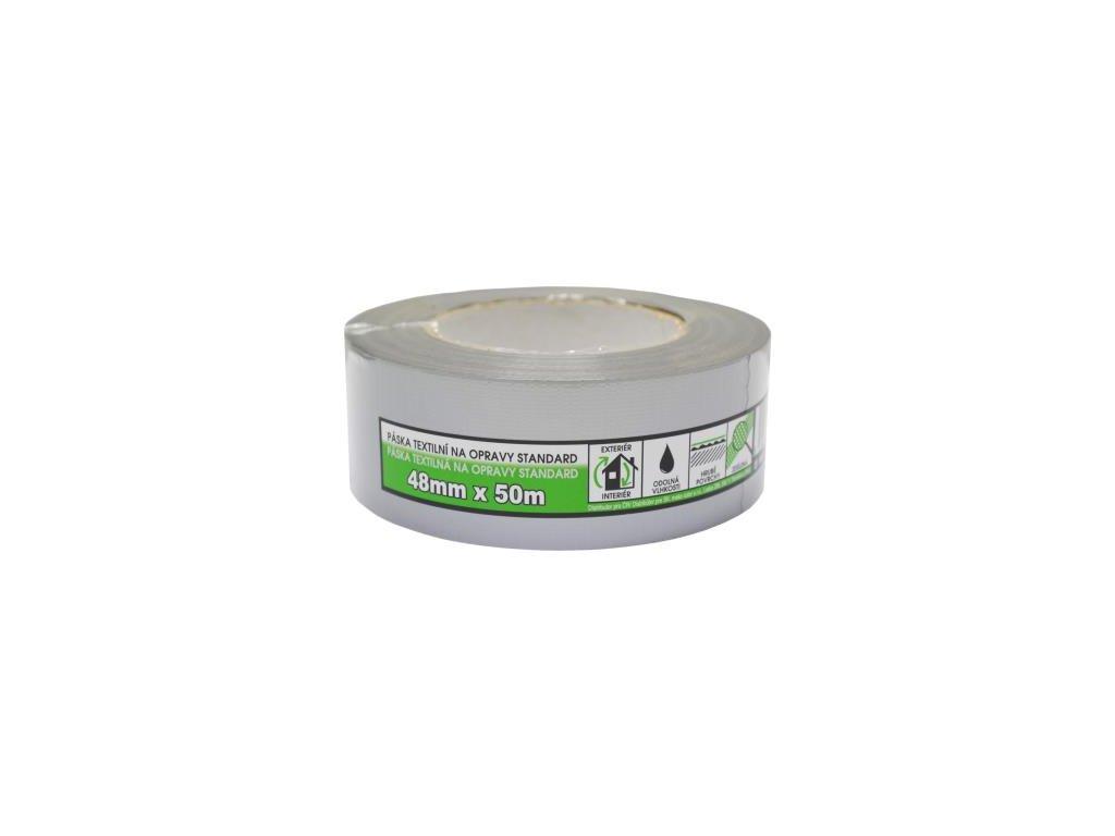 Páska textilná na opravy BASIC strieborna 48mm/10m 830309