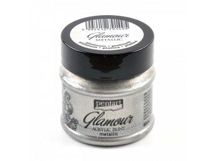 Akrylová farba, glamour, 50 ml, platinová 29394