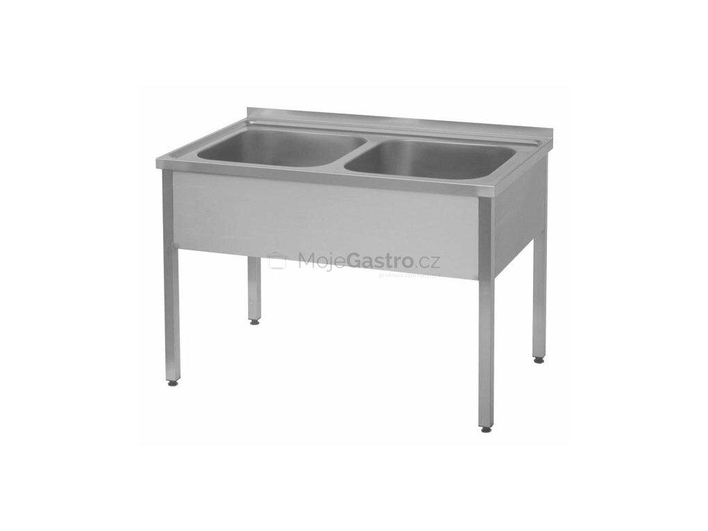 Dvoudřez nerezový s prolisovanou vrchní deskou (nerez pro potravinářské účely)- mycí stůl 1400x700