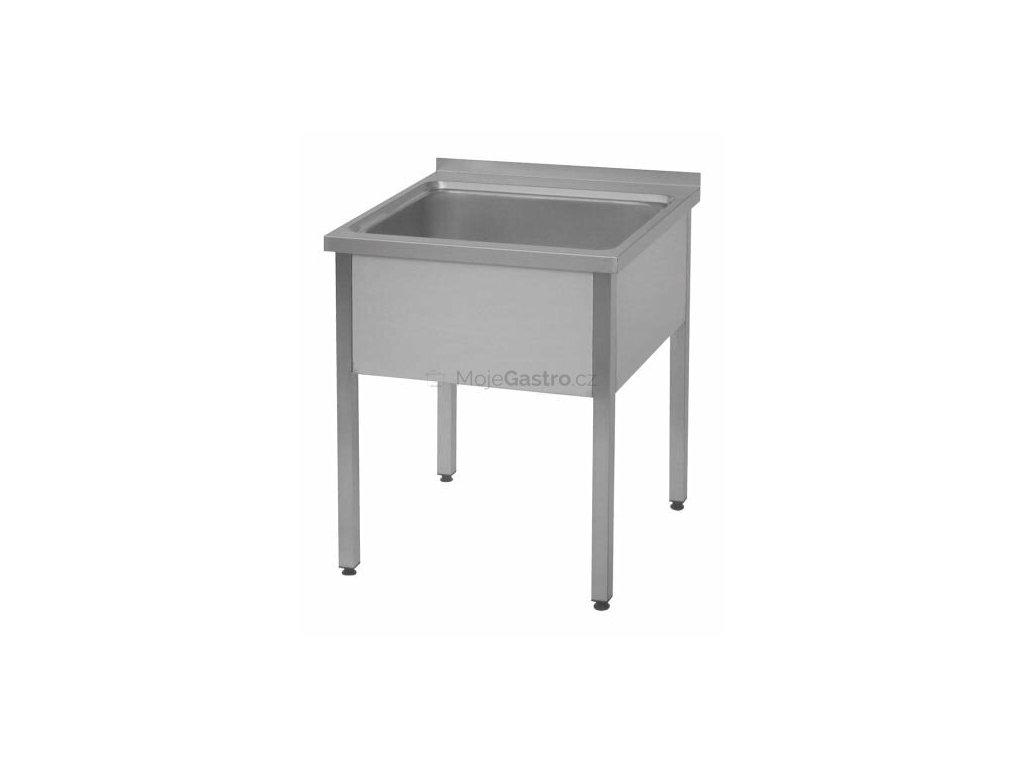 Dřez nerezový s prolisovanou vrchní deskou (nerez pro potravinářské účely) - mycí stůl (600x700mm)