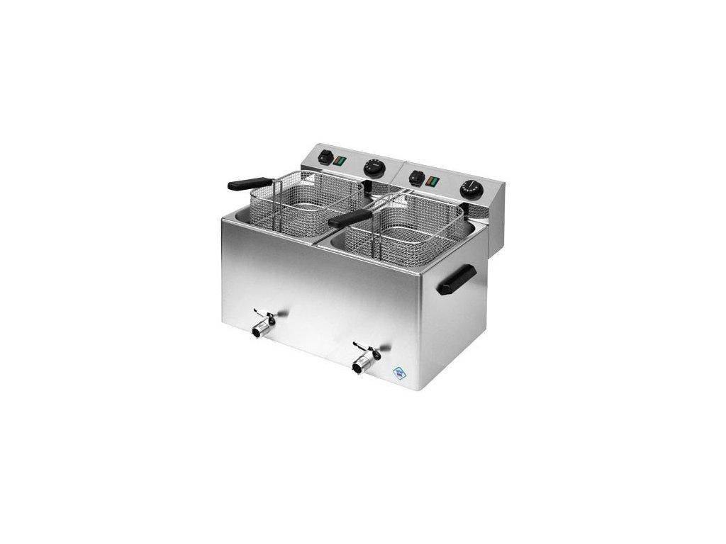 Fritéza elektrická 7+7 litrů 6+6kW s výpustí, FE-77VT, profi