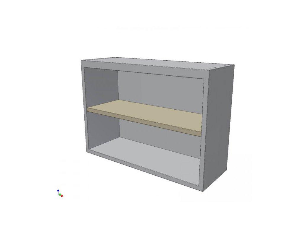 Skříňka nerezová nástěnná otevřená s policí 1400x350x706mm (nerez potravinářský)
