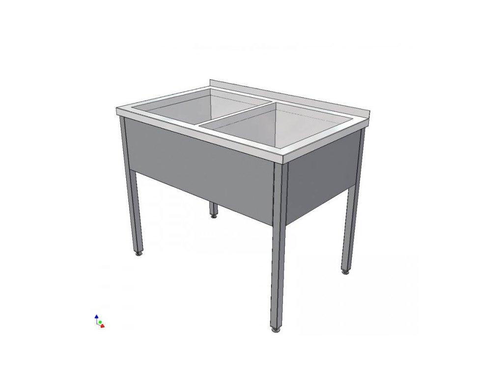 Nerezový dvoudřez svařovaný 1200x600x900 (nerez pro potravinářské účely) - mycí stůl