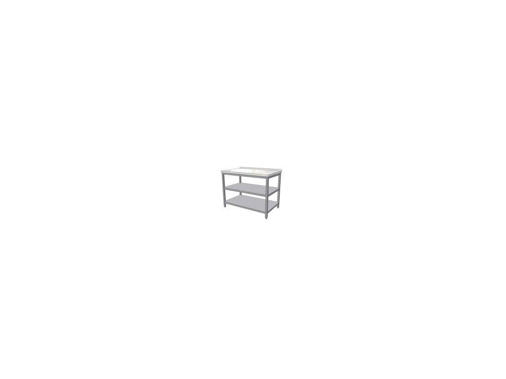 Nerezový pracovní stůl se dvěma policemi 1300x700x900 (nerez pro potravinářské účely