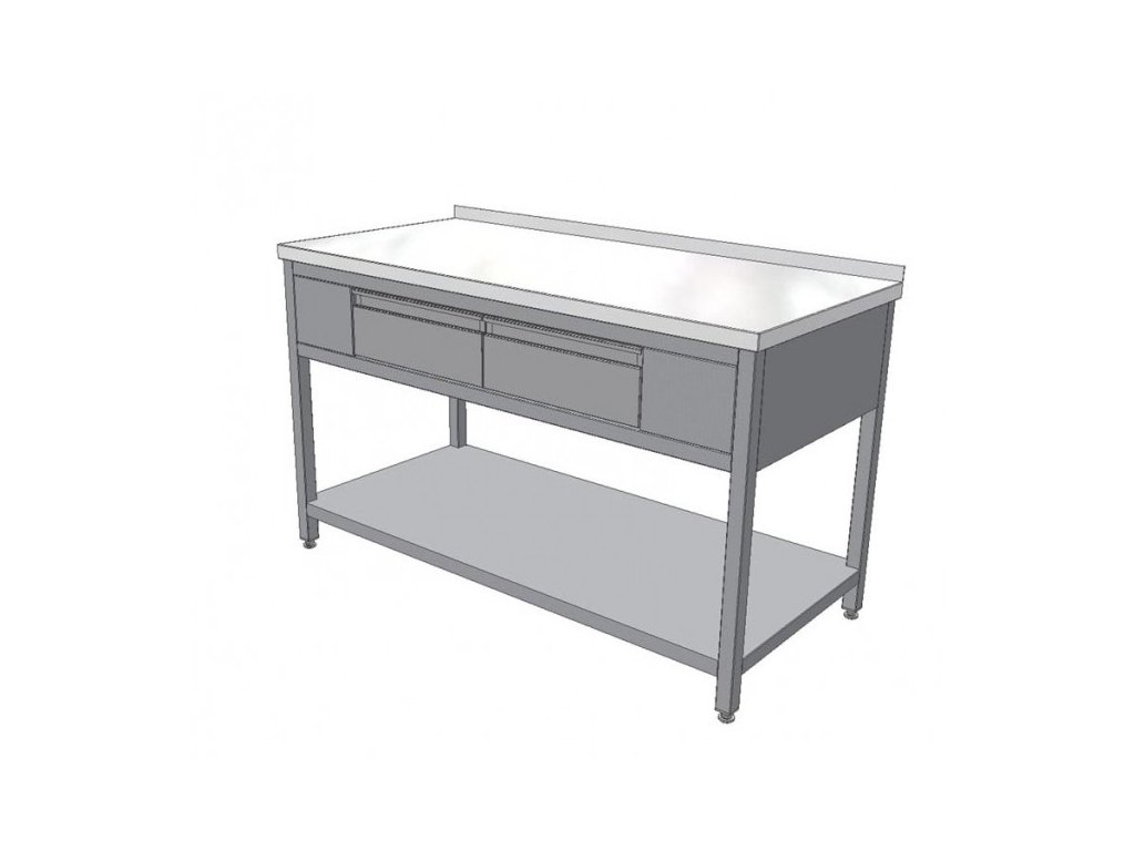 Pracovní nerezový stůl se dvěma zásuvkami (nerez pro potravinářské účely),1200x700x850mm
