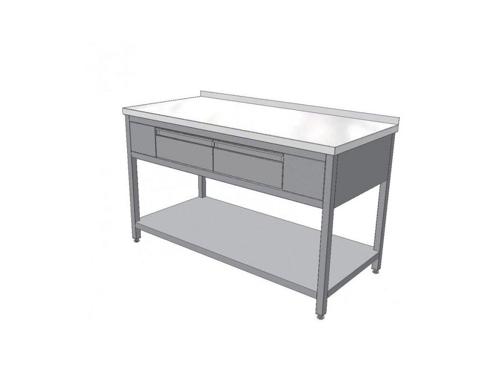 Pracovní nerezový stůl se dvěma zásuvkami (nerez pro potravinářské účely),1400x700x850mm