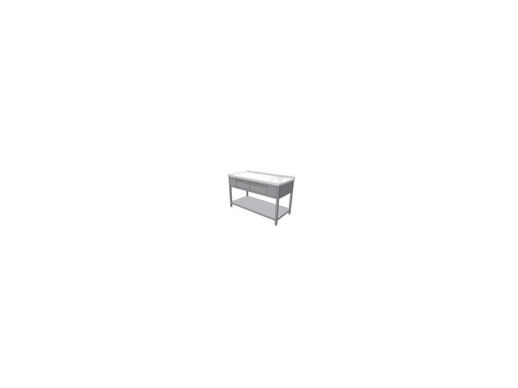 Pracovní nerezový stůl se třema zásuvkami (nerez pro potravinářské účely),1800x700x850mm