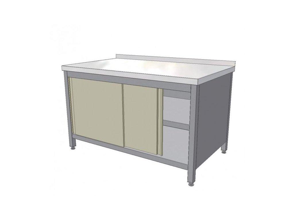 Nerezový pracovní stůl skříňový s posuvnými dvířky a policí 1400x700x850 mm  (nerez potravinářský)