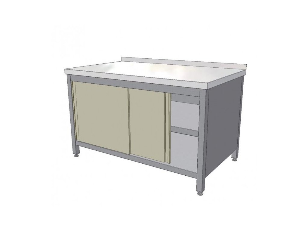 Nerezový pracovní stůl skříňový s posuvnými dvířky a policí 1300x700x850 mm (nerez potravinářský)