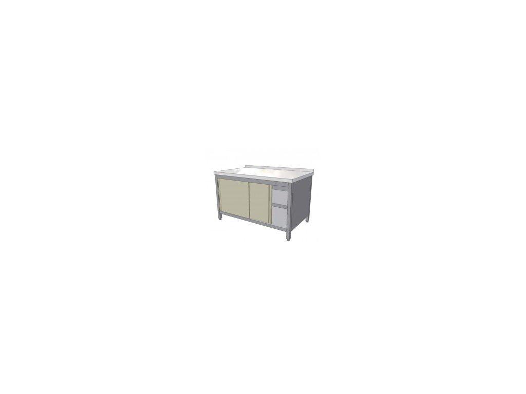 Nerezový pracovní stůl skříňový s posuvnými dvířky a policí 1200x700x850 mm (nerez potravinářský)