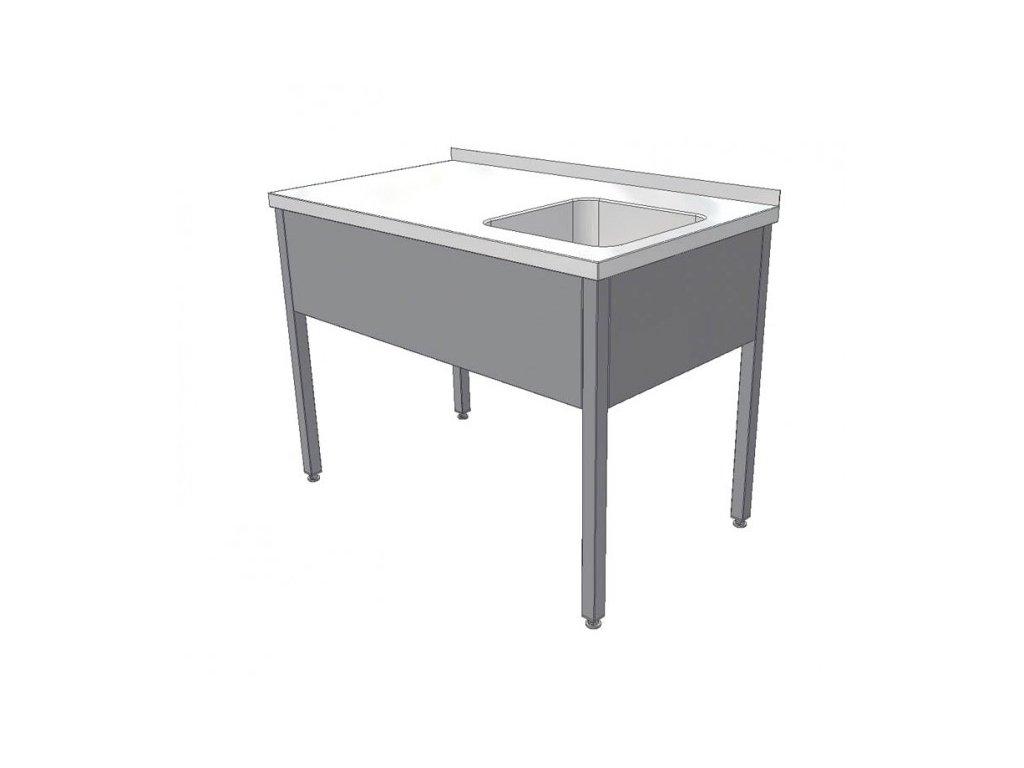 Nerezový mycí stůl s lisovaným dřezem a pracovní plochou 1000x700x850mm,potravinářský nerez