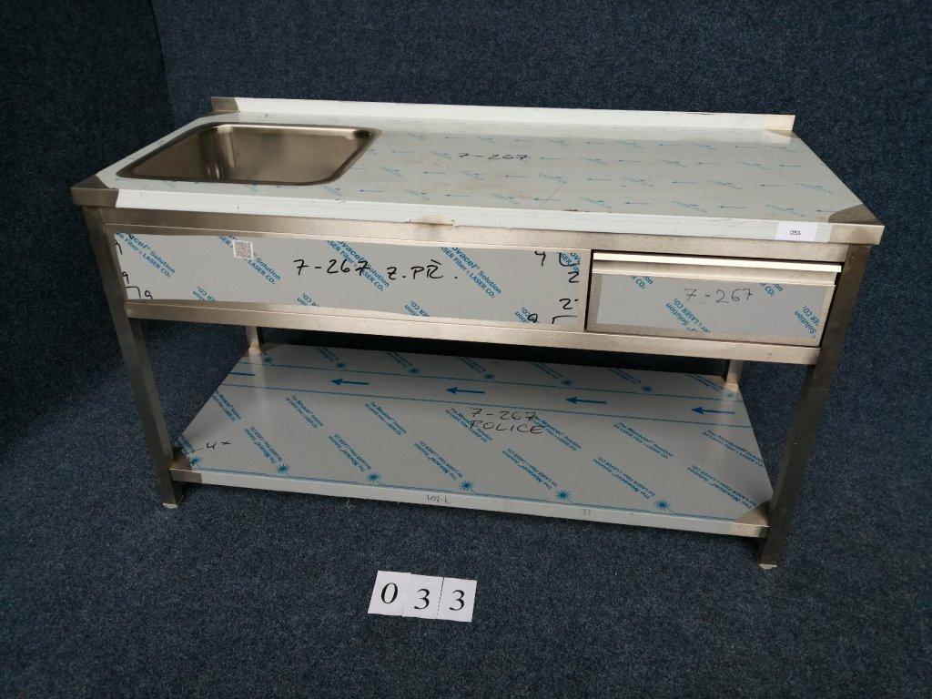 Pracovní stůl s dřezem vlevo, rozměr 1600x700x900mm, NOVÝ