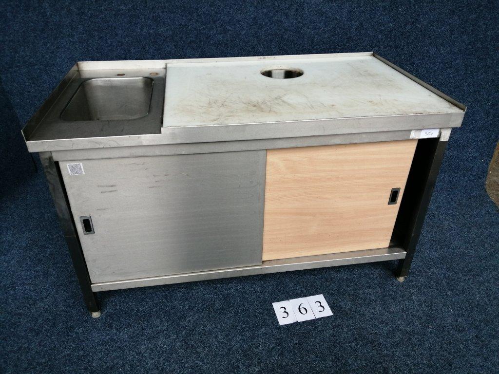 Nerezový stůl s dřezem, uzavřený, rozměr 1500x800x880mm