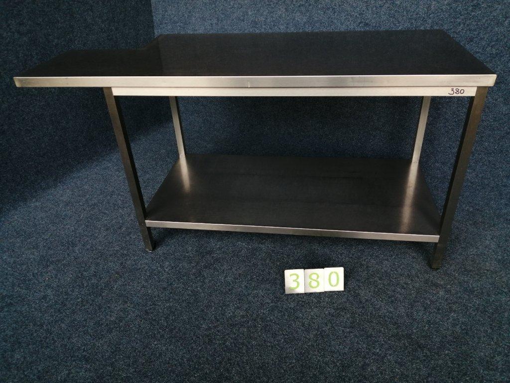Nerezový pracovní stůl, police výřez do desky, rozměr 1700/1360x700/410x850mm