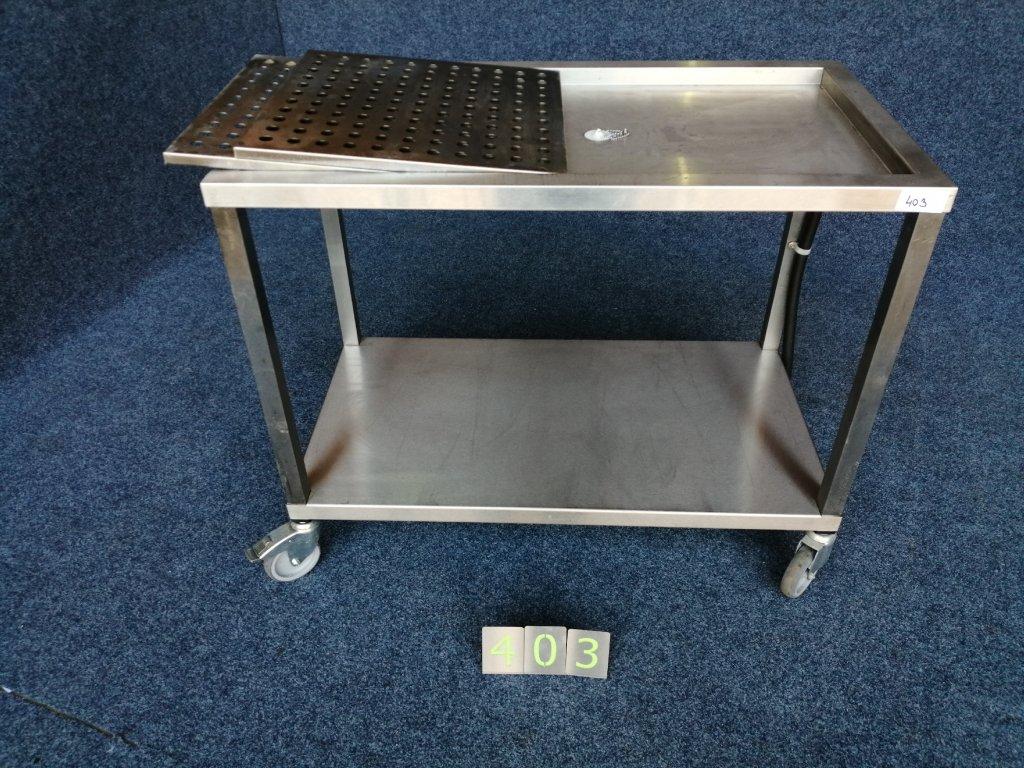 Nápojový párty stůl s odkapem , pojízdný 1120x610x920mm