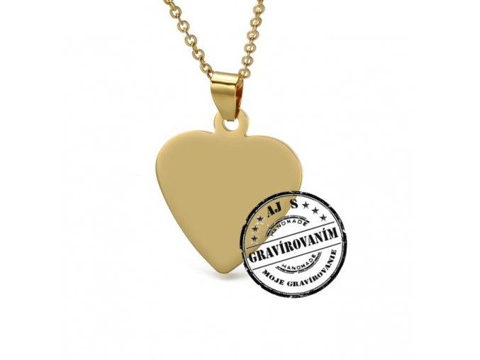 Medailón v tvare srdca zlatý gravirovanie