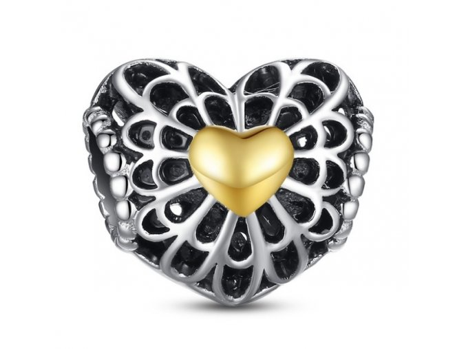 Strieborná korálka Srdce