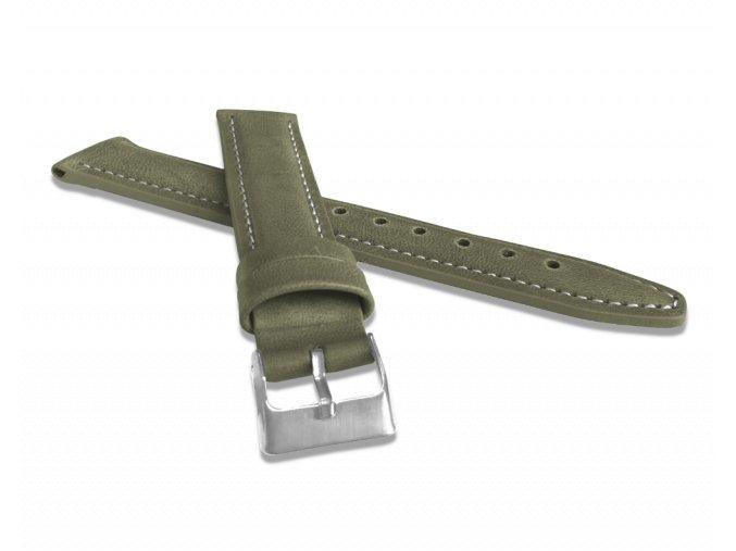Polstrovaný olivově zelený prošitý řemínek LAVVU CLASSIC z luxusní kůže Top Grain - 18