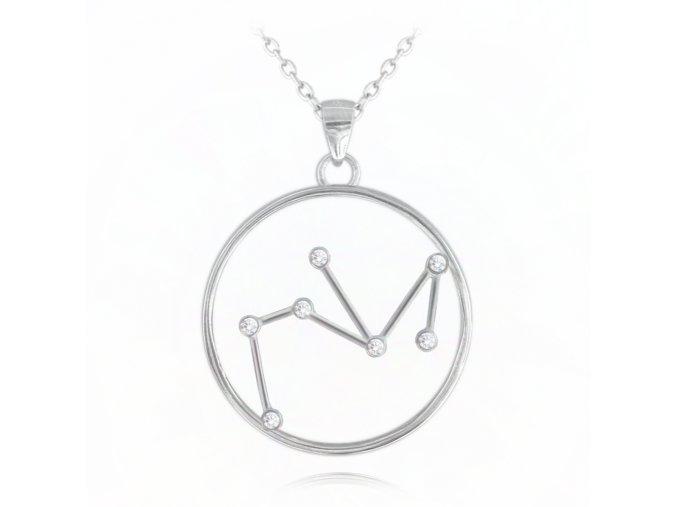 Stříbrný náhrdelník MINET Stars znamení STŘELEC Czech Crystal