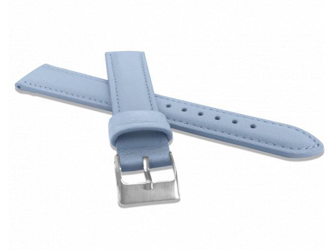 Světle modrý prošitý řemínek MINET z luxusní kůže Top Grain - 18
