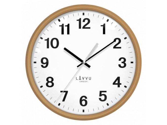 Světlé dřevěné hodiny s plynulým chodem LAVVU ESSENTIAL WOOD