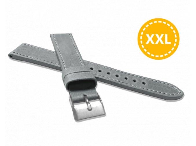 XXL Prodloužený prošitý šedý řemínek LAVVU SPORT z luxusní kůže Top Grain - 18 XXL