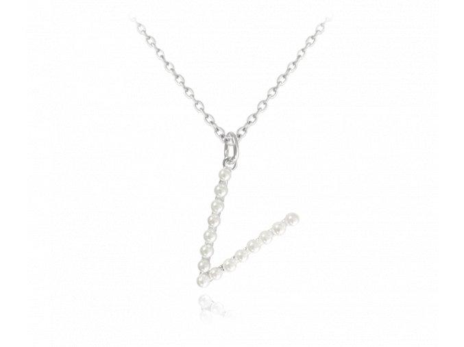 """Stříbrný náhrdelník MINET písmeno """"V"""" s perličkami"""