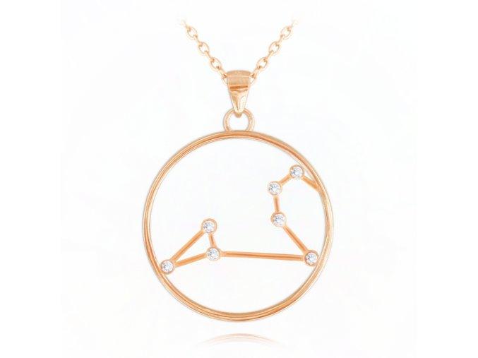Rose gold náhrdelník MINET Stars znamení LEV Czech Crystal