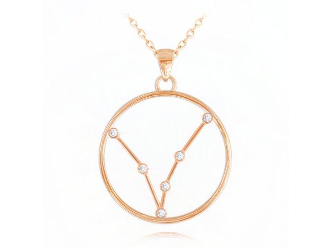Rose gold náhrdelník MINET Stars znamení RYBY Czech Crystal
