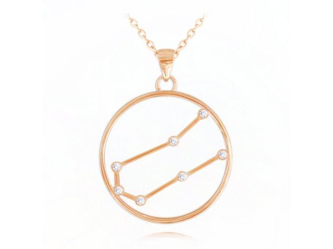 Rose gold náhrdelník MINET Stars znamení BLÍŽENCI Czech Crystal