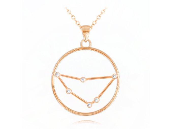 Rose gold stříbrný náhrdelník MINET Stars znamení KOZOROH Czech Crystal