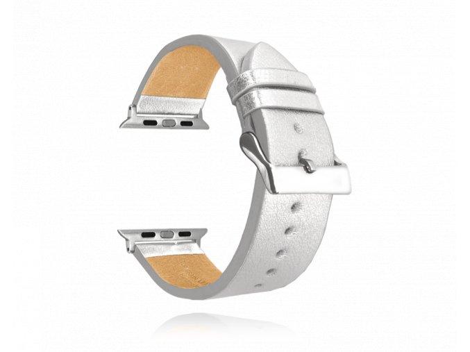 Stříbrný kožený řemínek MINET Top Grain pro APPLE WATCH 42-44 mm
