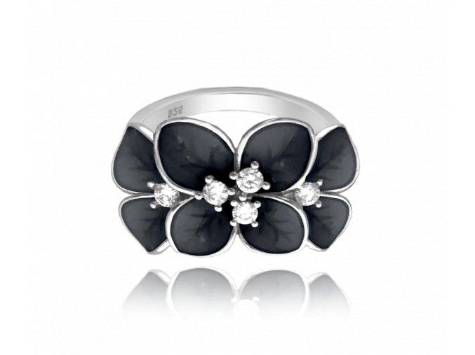 Černý rozkvetlý stříbrný prsten MINET FLOWERS s bílými zirkony vel. 57
