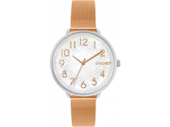 Stříbrno-růžové dámské hodinky MINET PRAGUE Rose Flower Mesh s čísly