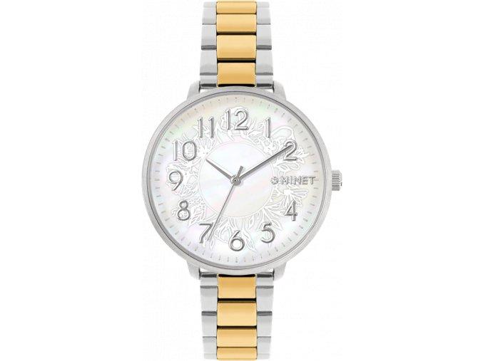 Stříbrno-zlaté dámské hodinky MINET PRAGUE Silver & Gold Flower Bicolor s čísly
