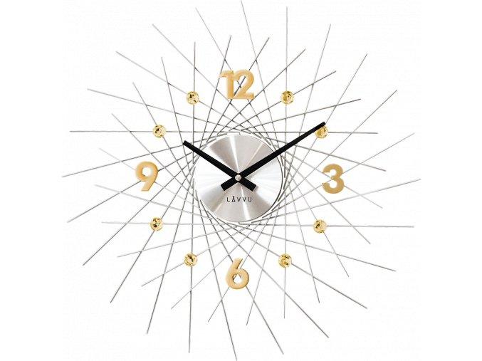 Stříbrné hodiny se zlatými detaily LAVVU CRYSTAL Lines