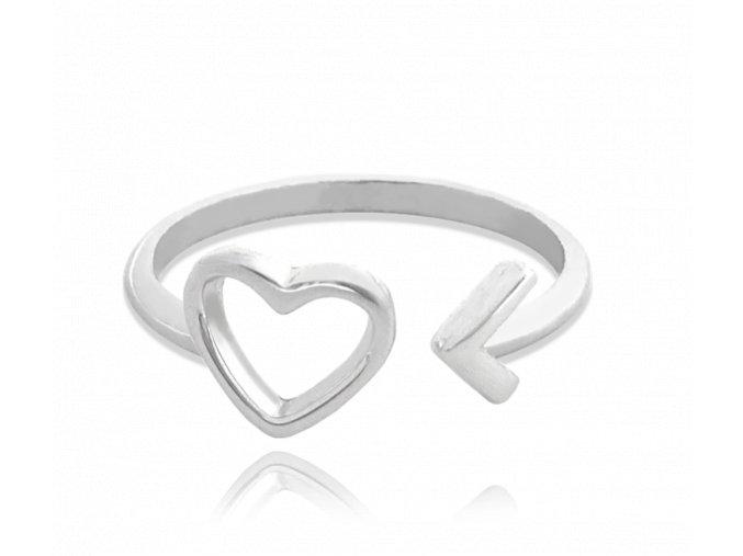 Stříbrný prsten MINET LOVE se srdíčkem vel. 58