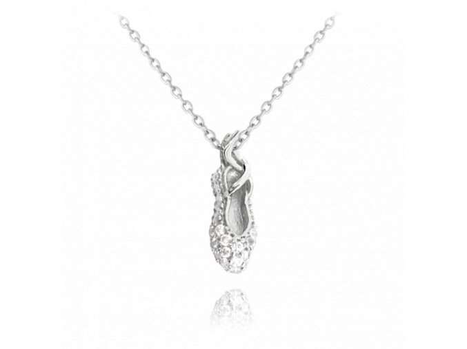 Stříbrný náhrdelník MINET BALETNÍ PIŠKOT s bílými zirkony