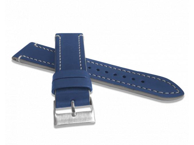 Modrý šedě prošitý řemínek LAVVU TAILOR z luxusní kůže Top Grain - 22